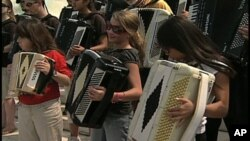 Students take a break from a week-long accordion competition to perform on the steps of the U.S. Capitol in August 2007.
