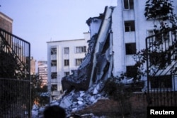 A damaged building is seen after explosions hit Liucheng county, Guangxi Zhuang Autonomous Region, China, Sept. 30, 2015.