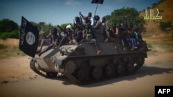 Screengrab from a Boko Haram video shows Boko Haram fighters parading on a tank in an unidentified town, Nov. 9, 2014.