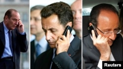 From left, file pictures of former French Presidents Jacques Chirac and Nicolas Sarkozy and President Francois Hollande making phone calls in France. France branded as unacceptable reported spying the United States on French senior officials.