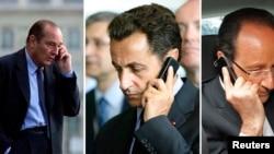 从左至右:法国前总统希拉克,法国前总统萨科齐,法国现任总统奥朗德 (资料照片)