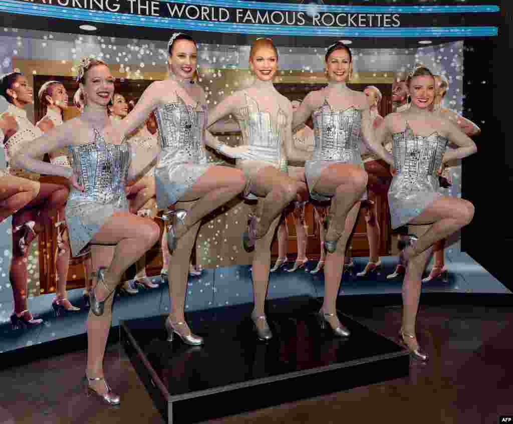 "A view of the unveiling of a new ensemble for a Rockette wax figure, as created on Lifetime's ""Project Runway"", at Madame Tussauds in New York City."