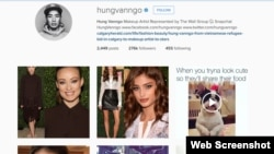 Ảnh chụp màn hình instagram của nghệ sĩ trang điểm Hung Vanngo.