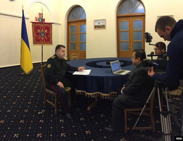 Ukraine's Defense Minister, General Stepan Poltorak, in a VOA interview, March 3, 2016. (Anna Pyatetska/VOA)
