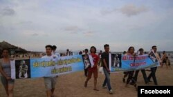 Biểu tình ôn hoà tại bãi Sau Vũng Tàu với các thông điệp bảo vệ môi trường. Ảnh: Facebook Hoàng Huy Vũ