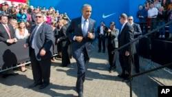 바락 오바마 미국 대통령이 지난 8일 환태평양경제동반자협정, TPP를 홍보하기 위해 미 서부 오리건 주에 있는 나이키 본사를 방문했다. (자료사진)