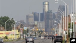 美國底特律市天際線.2013年7月18日底特律市提出破產申請。