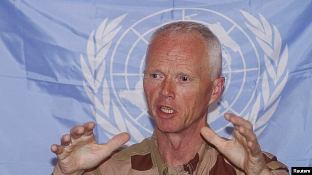 Norwegian Major-General Robert Mood, who leads the United Nations Supervision Mission in Syria, speaks during a news conference, in Damascus June 15, 2012.