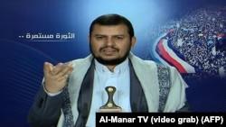 عبد المالک الحوثی، در حال ارائه نطقی تلویزیونی