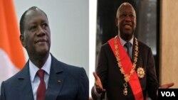 Presiden terpilih Pantai Gading Alassane Ouattara (kiri) dan Presiden Laurent Gbagbo (kanan).