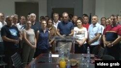 Lider Samostalne liberalne stranke Slobodan Petrović na konferenciji za novinare