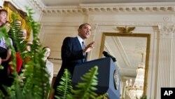9일 백악관에서 중산층 감세 정책 연장안을 발표하는 바락 오바마 미국 대통령.