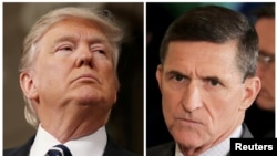 FILE - A combination photo shows U.S. President Donald Trump (L), on February 28, 2017, White House National Security Advisor Michael Flynn (C), February 13, 2017.