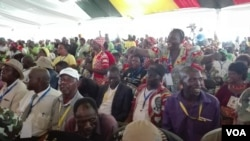 Members of ruling Zanu PF party enjoying their leader President Robert Mugabe attacking factions angling to succeed him as Zimbabwe's leader, Masvingo, Zimbabwe, Dec. 16, 2016. (S.Mhofu/VOA)