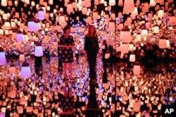 ملانیا ترامپ، بانوی اول آمریکا و آکی آبه همسر نخست وزیر ژاپن به دیدن موزه هنرهای دیجیتالی توکیو رفتند