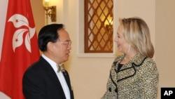 克林顿国务卿会见香港特首曾荫权