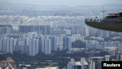 Ảnh tư liệu chụp từ tháp quan sát của Marina Bay Sands ở Singapore, ngày 22/2/2016.