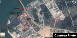 Khu vực đã bị Trung Quốc thâu tóm và các vị trí nhạy cảm về an ninh quốc phòng xung quanh (bấm vào để phóng to).