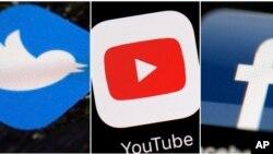 ឡូហ្គោបណ្ដាញសង្គម Twitter បណ្ដាញ YouTube និង Facebook។