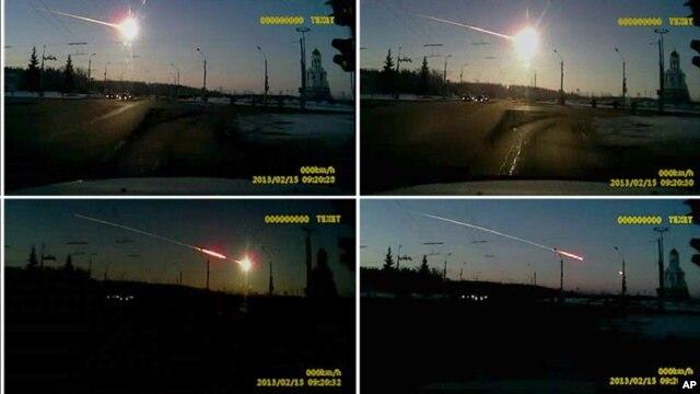 Secuencia de fotos de la estela de fuego del meteorito sobre Cheliánbinsk, a unos 1.500 kilómetros al este de Moscú.