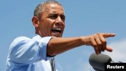 Presiden AS Barack Obama dalam konferensi pers di Wilmington, Delaware (17/7). (Reuters/Kevin Lamarque)