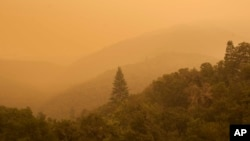Smoke from a wildfire spreads over woods, as seen from White Rock in Carmel Valley, southeast of Monterey, Calif., July 27, 2016.