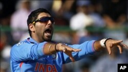 India's Yuvraj Singh appeals successfully for the wicket of The Netherlands' Wesley Baressi during their ICC Cricket World Cup group B match in New Delhi March 9, 2011. REUTERS/Adnan Abidi (INDIA - Tags: SPORT CRICKET)