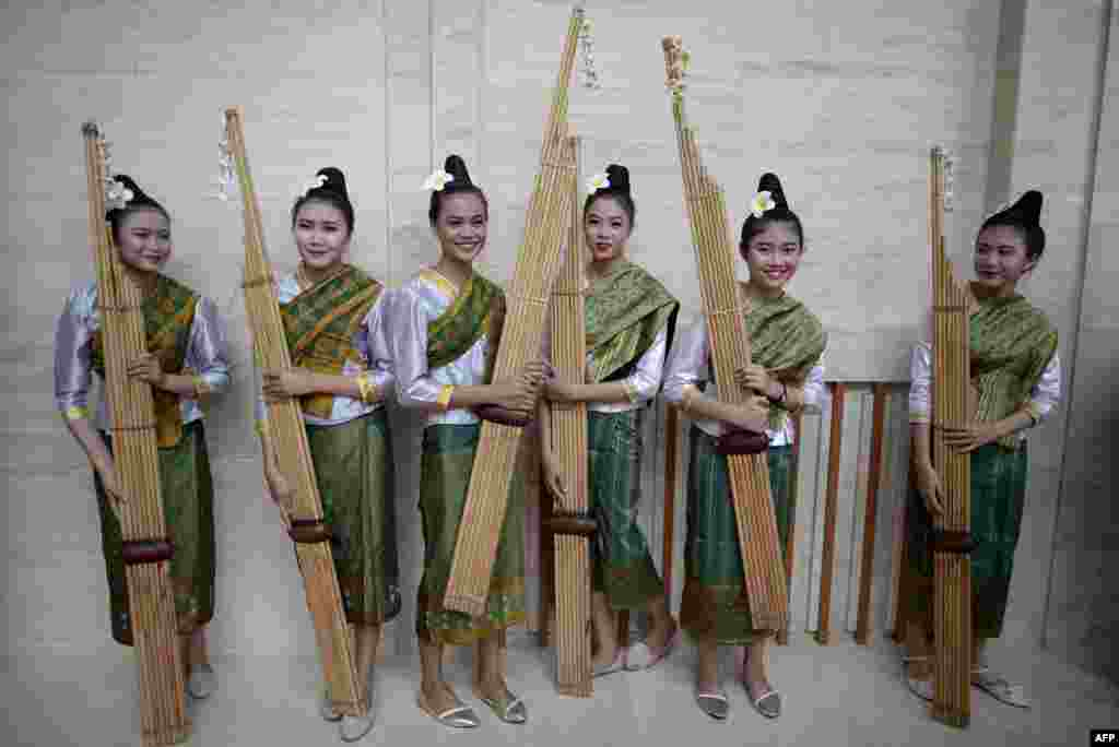 Performers are seen with the Khean instrument after their rehearsal at the National Convention Centre (NCC) in Vientiane, Laos, for the 28th Association of Southeast Asian Nations (ASEAN) Summit.