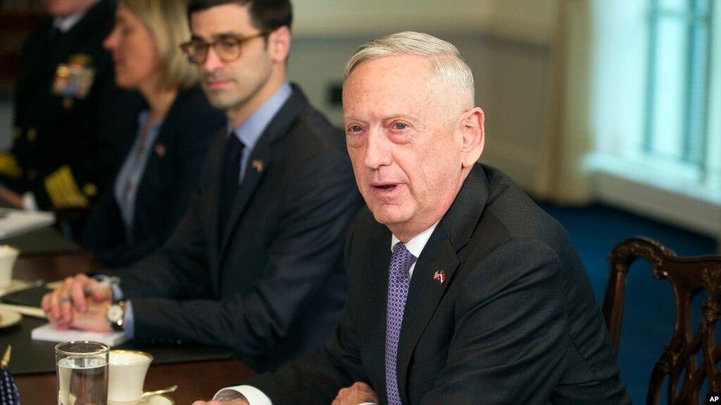 Bộ trưởng Quốc Phòng Jim Mattis trả lời phóng viện về hành động quân sự ở Syria trong một cuộc gặp với BTQP Hà Lan Ank Bijleveld tại Ngũ Giác Đài ở Washington, ngày 11/4/2018. (AP Photo/Cliff Owen)