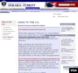 The US embassy in Ankara, Turkey has a special section for Iranian visa applicants