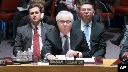 Ambasador Rusije pri UN Vitalij Čurkin na današnjem zasedanju Saveta bezbednosti o krizi u Ukrajini