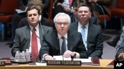 FILE - Russia's U.N. Ambassador Vitaly Churkin speaks during an U.N. Security Council meeting, March 15, 2014, at United Nations headquarters.