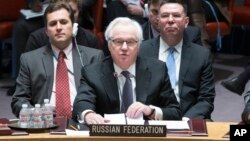 FILE - Russia's U.N. Ambassador Vitaly Churkin speaks during a U.N. Security Council meeting on the Ukraine crisis, March 15, 2014, at United Nations headquarters in New York.