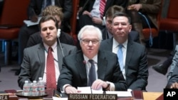 Russia's U.N. Ambassador Vitaly Churkin speaks during an U.N. Security Council meeting on the Ukraine crisis, Saturday, March 15, 2014, at United Nations headquarters.