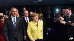 اوباما و مرکل در مراسم افتتاحیه نمایشگاه بزرگ صنعت و تکنولوژی هانوفر