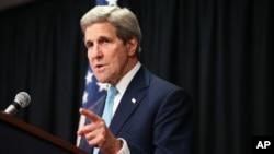 Ngoại trưởng Mỹ John Kerry phát biểu trong cuộc họp báo ở khách sạn Nairobi Sankara, Kenya, ngày 4/5/2015.