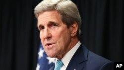 John Kerry Sakataren harkokin wajen Amurka yayinda yake jawabi a Nairobi Kenya jiya.