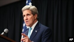U.S. Secretary of State John Kerry speaks at a news conference at the Nairobi Sankara Hotel, May 4, 2015, in Nairobi, Kenya.