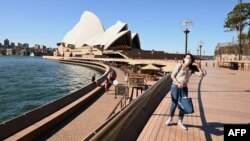 Circular Quay à Sydney pendant l'épidémie de coronavirus, Australie, le 20 mars 2020.