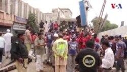 کراچی میں عمارت گرنے سے متعدد افراد زخمی دکانیں تباہ