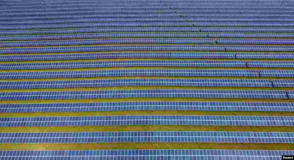 A field of solar panels is seen near Royston, Britain.