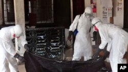Health workers in protective gear move the body of a person that they suspect dyed form the Ebola virus in Monrovia, Liberia, Sept. 16, 2014.
