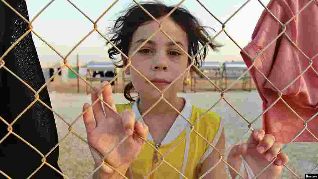 A Syrian refugee is pictured at the Al Zaatri refugee camp in the Jordanian city of Mafraq, near the border with Syria.