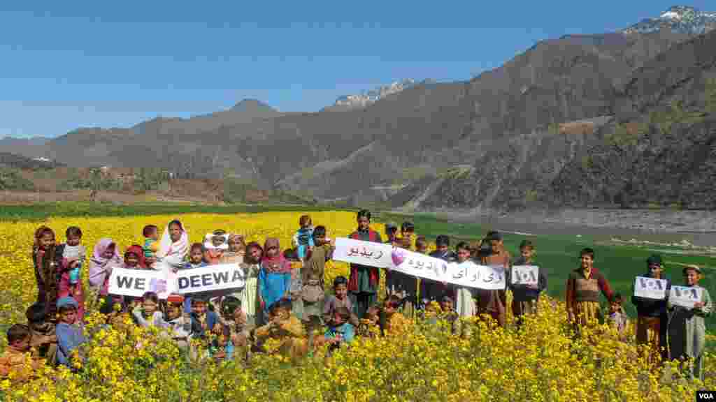 Young fans of VOA Deewa pose for photos in a remote area in the north of Khyber Pakhtunkhwa, in Pakistan's Tor Ghar district.