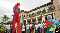 Estado actual do palácio presidencial em Bissau