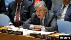 "FILE - U.N. Secretary-General Antonio Guterres speaks during a meeting of the Security Council to discuss peacekeeping operations, at U.N. headquarters in New York, Sept. 20, 2017. Guterres on Sept. 25, 2018, said at a high-level meeting on peacekeeping on the sidelines of the General Assembly that peacekeepers today are ""facing a more fundamental challenge — namely, the gulf between aspirations and reality."""