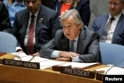FILE - U.N. Secretary-General Antonio Guterres speaks during a meeting of the Security Council.
