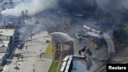 Hiện trường sau vụ tai nạn đường sắt ở thị trấn Lac Megantic, ngày 6/7/2013.