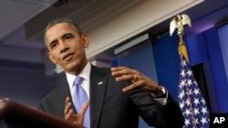 奧巴馬總統2013年12月20號在白宮舉行年終記者會