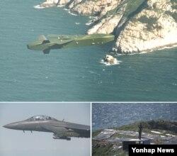 한국 공군은 지난 12일 처음으로 진행된 타우러스 장거리 공대지 유도미사일 실사격을 성공적으로 마쳤다고 밝혔다. 위 사진부터 시계방향으로 자체항법으로목표물 향하는 타우러스, 목표물 명중하는 타우러스, 타우러스를 발사하는 F-15K 전투기.